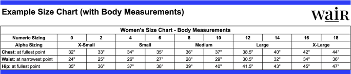 Example Size Chart (with Body Measurements)